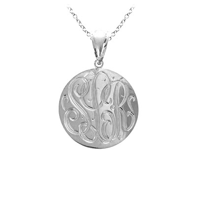 White Gold Handmade Engraved Monogram Pendant Necklace