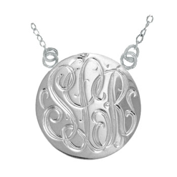 White Gold Handmade Engraved Monogrammed Medallion Jewelry Necklace