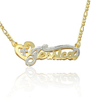 Heart and Cross Name Jewelry Necklace Yellow Gold