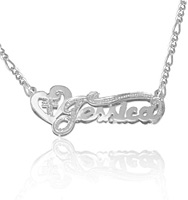 Heart and Cross Personalized Name Pendant Necklace in White Gold