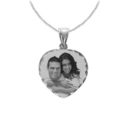 White Gold Heart Black and White Photo Jewelry Necklace with Diamond-Cut Edges
