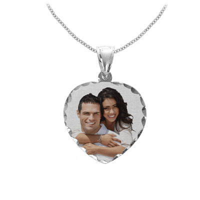 White Gold Heart Color Photo Jewelry Pendant with Diamond Cut Edges