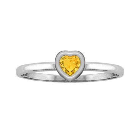 Heart-Cut Citrine Solitaire Ring, White Gold