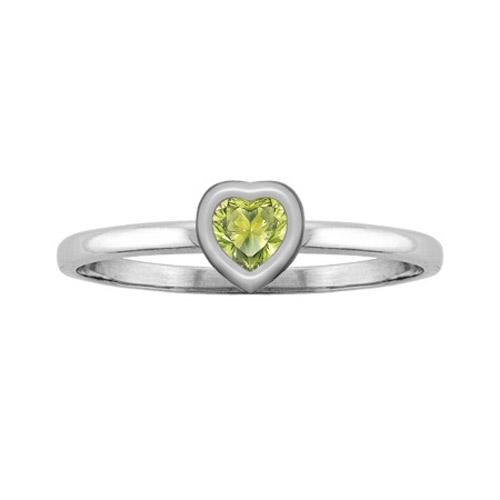Heart-Cut Peridot Bezel Ring in White Gold