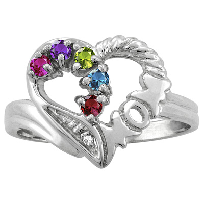 heart mom family ring