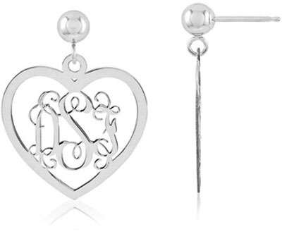 Heart Monogram Earrings, 14K White Gold