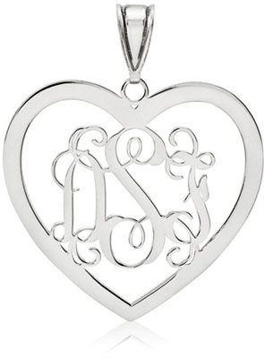 14K White Gold Heart Monogram Pendant
