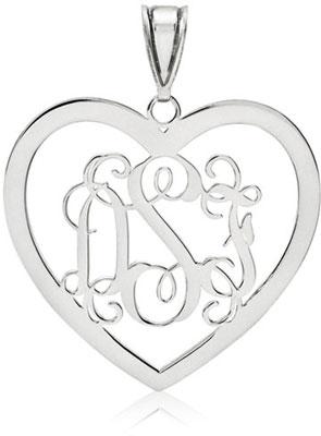 14K White Gold Heart Monogram Pendant
