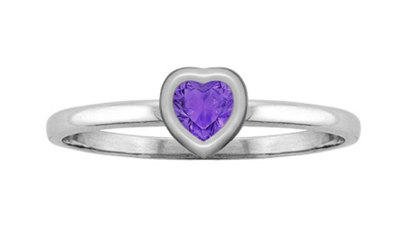 Heart-Shaped Amethyst Bezel-Set Ring in White Gold