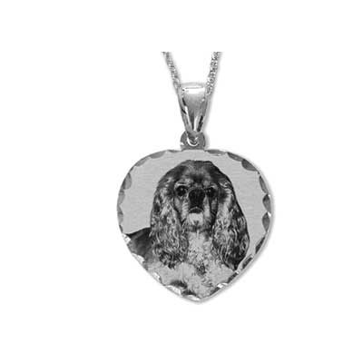 Heart-Shaped Black and White Engraved Photo Charm in White Gold