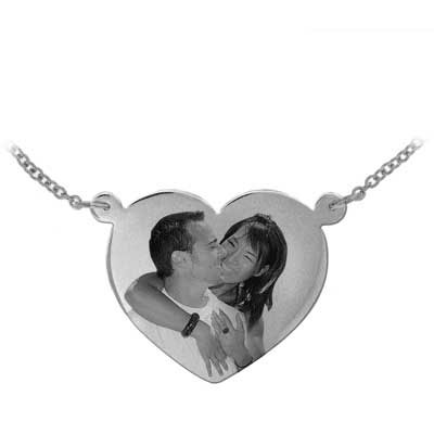 White Gold Heart Shaped Black and White Photo Necklace
