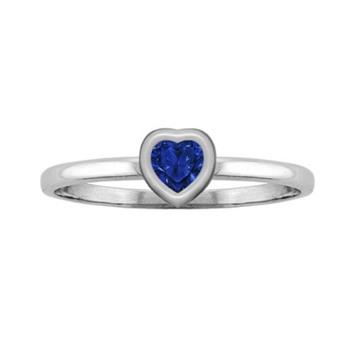 Heart-Cut Blue Sapphire Bezel-Set Ring, White Gold