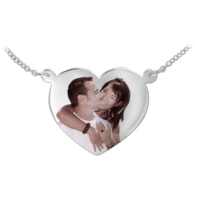 Sterling Silver Heart Shaped Color Photo Necklace