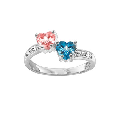 Heart Shaped CZ Birthstone Ring in Sterling Silver
