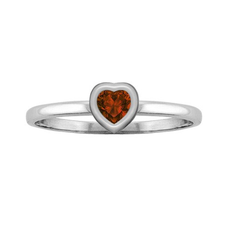 Sterling Silver Heart Garnet Bezel-Set Ring