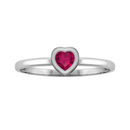 Heart-Shaped Ruby Solitaire Bezel Ring in White Gold