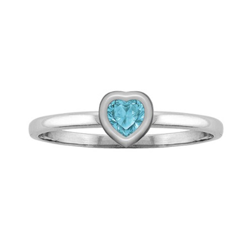Sterling Silver Heart-Cut Swiss-Blue Topaz Solitaire Ring
