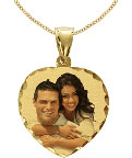 Heart Yellow Gold Color Photo Jewelry Charm with Diamond-Cut Design