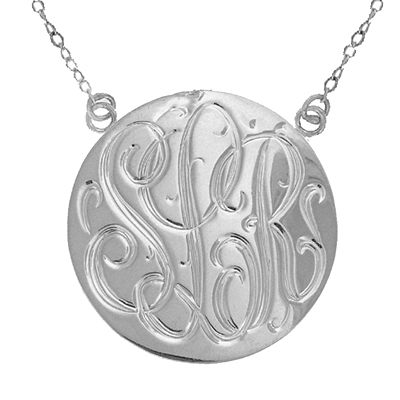Large White Gold Handmade Engraved Monogram Pendant Necklace