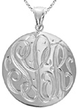 Large Handmade Engraved Monogram Medallion Necklace in Sterling Silver