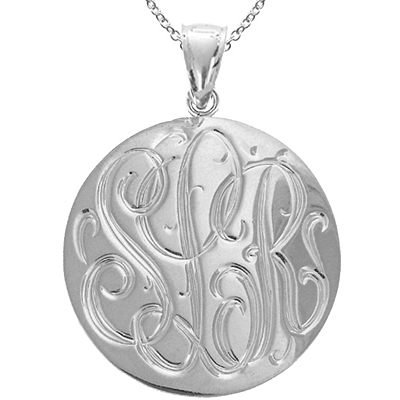 Large White Gold Handmade Engraved Monogram Medallion Pendant
