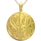 Large Yellow Gold Handmade Engraved Monogram Medallion Pendant