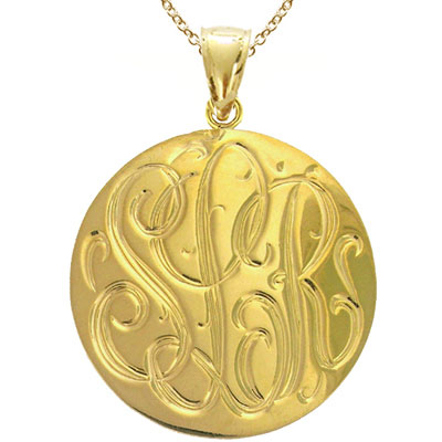 Large Yellow Gold Handmade Engraved Monogram Medallion Pendant
