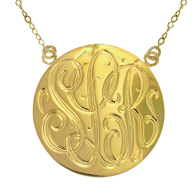 Large Yellow Gold Handmade Engraved Monogram Medallion Necklace