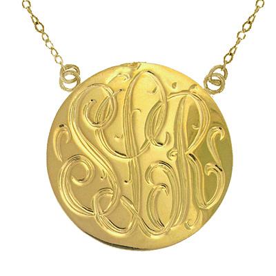 Large Yellow Gold Handmade Engraved Monogram Medallion Necklace