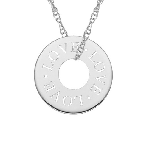 Love Circle Necklace in White Gold