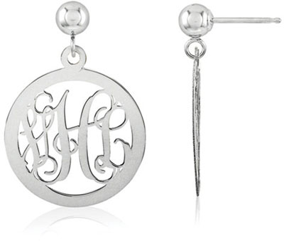 Monogram Medallion Earrings, 14K White Gold