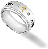 Men's Stainless Steel and CZ Cross Custom Spinner Ring