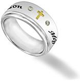 Men's Stainless Steel and CZ Cross Custom Spinner Ring