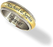 Men's Stainless Steel and Gold Tone 8mm Personalized Spinner Ring