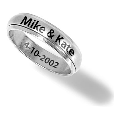 Men's Stainless Steel Personalized 8mm Engraved Spinner Ring