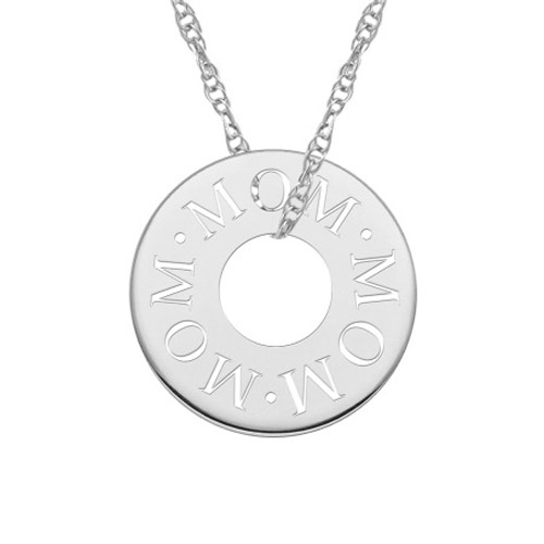 Mom Cut-Out Circle Necklace in White Gold
