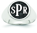 Men's Enameled Monogram Signet Ring, Sterling Silver
