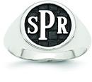Men's Enameled Monogram Signet Ring, 14K White Gold