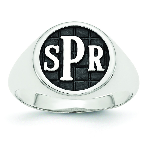 Men's Enameled Monogram Signet Ring, 14K White Gold