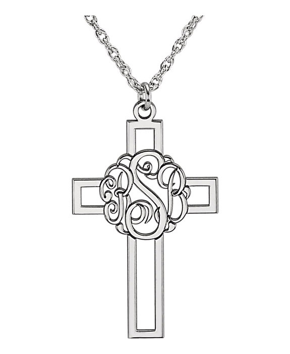White Gold Monogram Cross Necklace