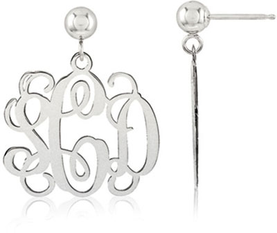 14K White Gold Monogram Earrings