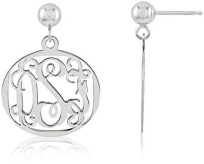 Filigree Monogram Medallion Earrings, 14K White Gold