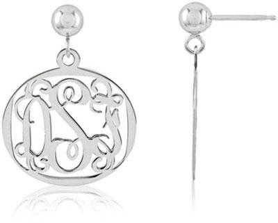 Filigree Monogram Medallion Earrings, Sterling Silver