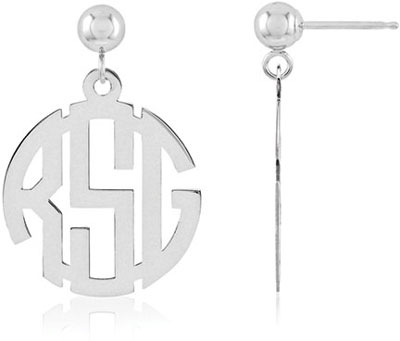 Classic Monogram Earrings, 14K White Gold