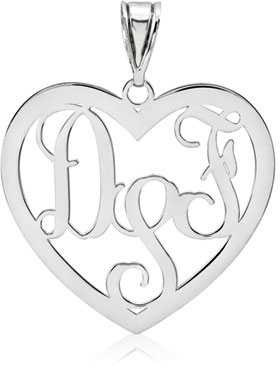 Heart Monogram Pendant, 14K White Gold