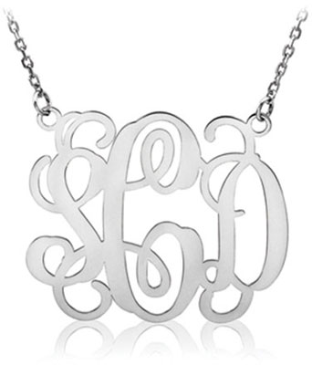 monogram necklace sterling silver
