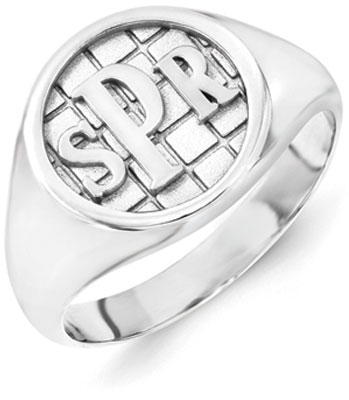 Men's Monogram Ring, 14K White Gold