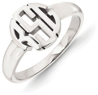 Classic Monogram Ring, 14K White Gold