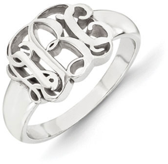 14K White Gold Monogram Ring