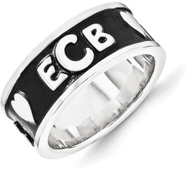 Enameled Monogram Ring, 14K White Gold